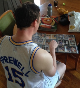 Ben with his cards. He is a grown adult.