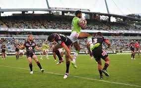 A highlight for the Raiders was this kick from Cornish that led to a spectacular catch and try for Waqa.