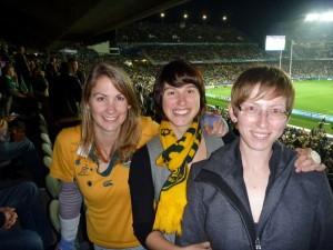 My sister, me and my cousin at the Wallabies V Ireland game, World Cup 2011 in Auckland, NZ. We got done over by the ref, and a crowd of Kiwis that hated our guts.